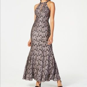 Night way golden glitter lace keyhole gown
